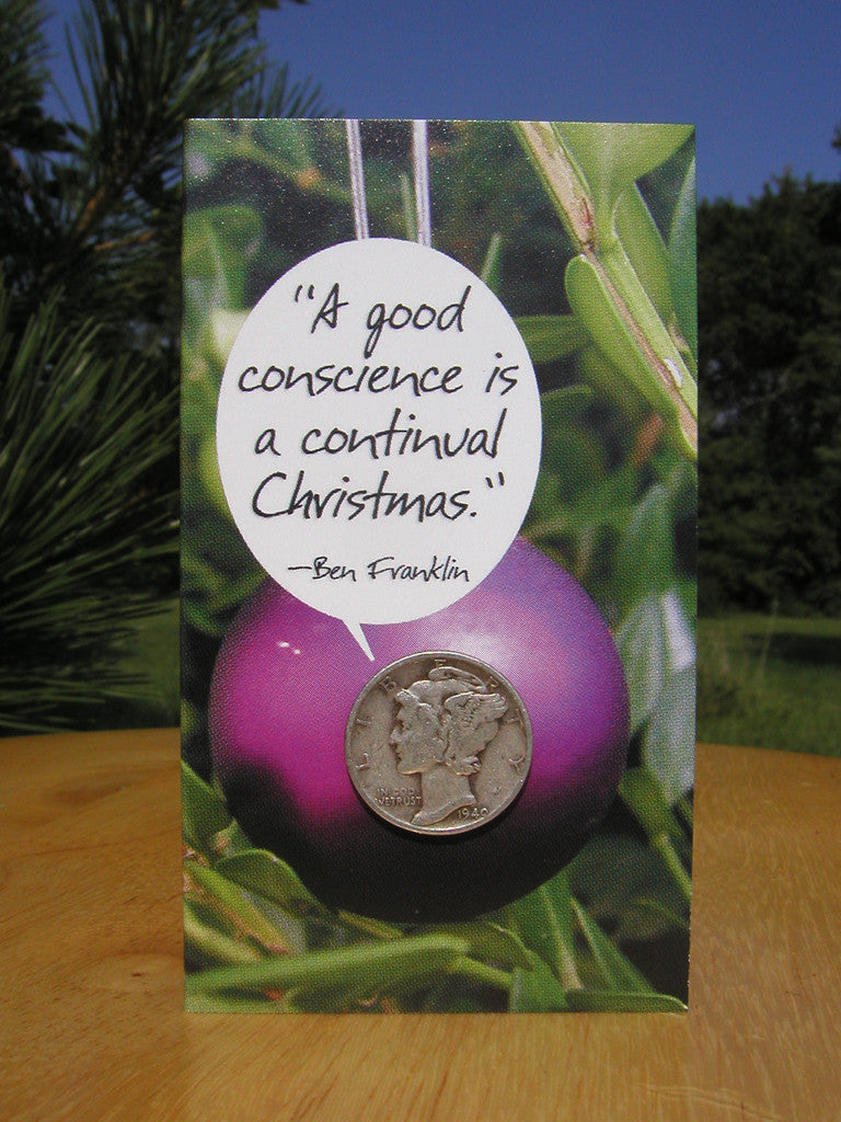 #102 - 90% Silver U.S. Mint Mercury Dime Christmas Card with Lincoln quote. Includes envelope for mailing and descriptive postcard.