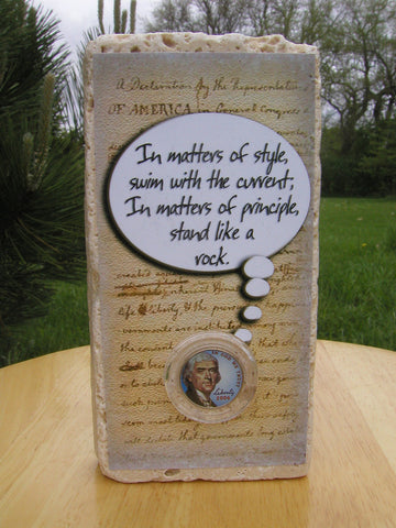 #408 - Thomas Jefferson Colorized Nickel Valentine's Day Coin Card on Marble!