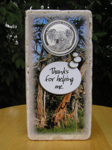 #402 - Australian Koala Thank You Card made with Marble and 1/2 oz. Fine Silver!