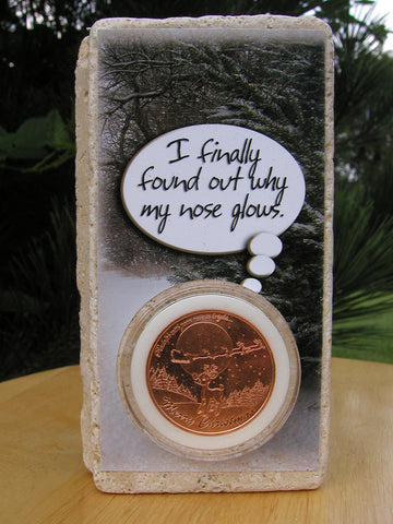 #403 - Rudolph the Red-Nosed Reindeer Christmas Card made with Marble and 1 oz. Fine Copper!