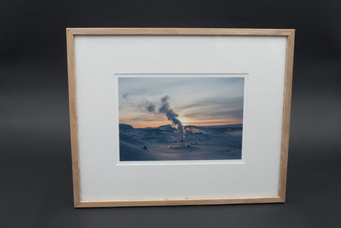 Sunset on Mývatn, pigment print, glass & wood frame