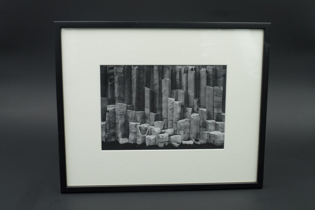 Basaltic columns at Reynisfjara, pigment print, glass & black lacquered wood frame