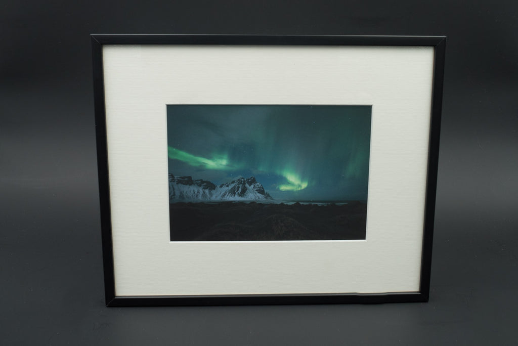 Stokksnes craziness, pigment print, glass & black lacquered wood frame