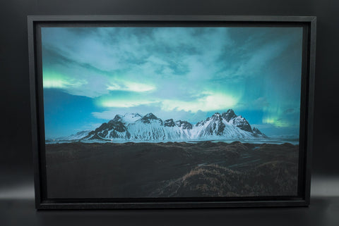 Northern Lights above Vestrahorn, pigment print, Alu Dibond, American Box