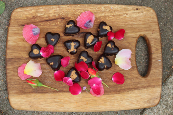 Healthy Peanut butter chocolate hearts made with coconut oil