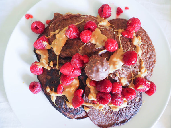 Healthy pancakes recipe with raspberries and ferrero richer