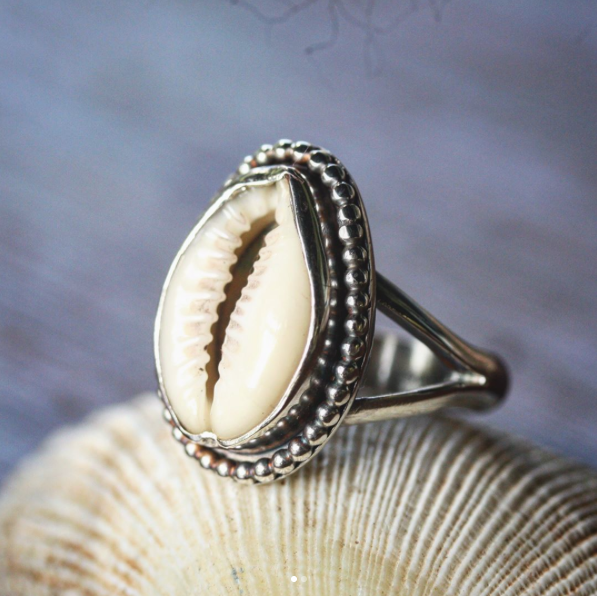 sea shell silver jewellery, sea shell silver ring, hand made silver ring
