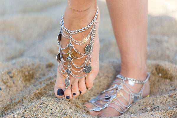 Silver anklets, beach silver anklets, women's gypsy anklets