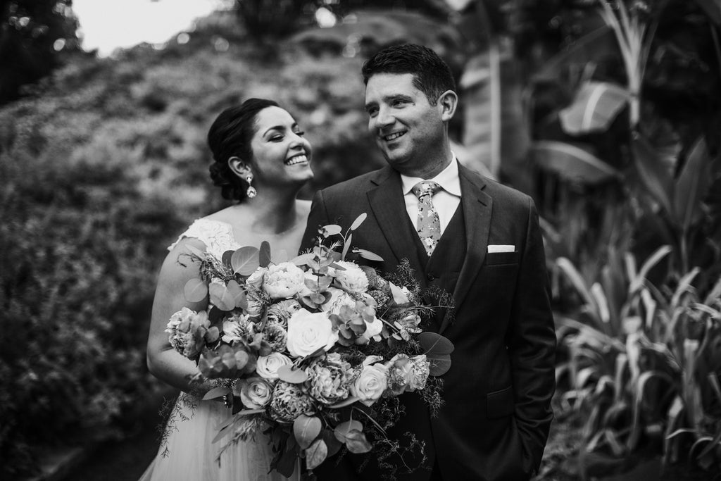 Bride and groom, wedding day, black and white, wedding bouquet