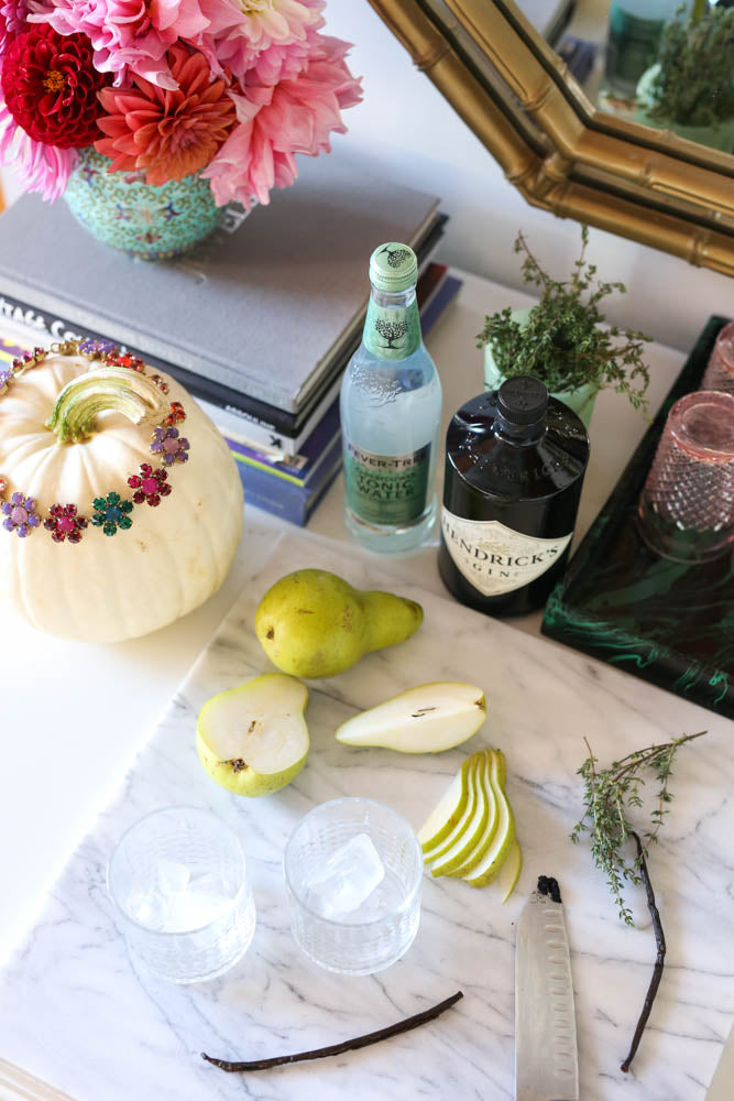 spiced pear gin and tonic, Hendrick's gin, fall cocktails