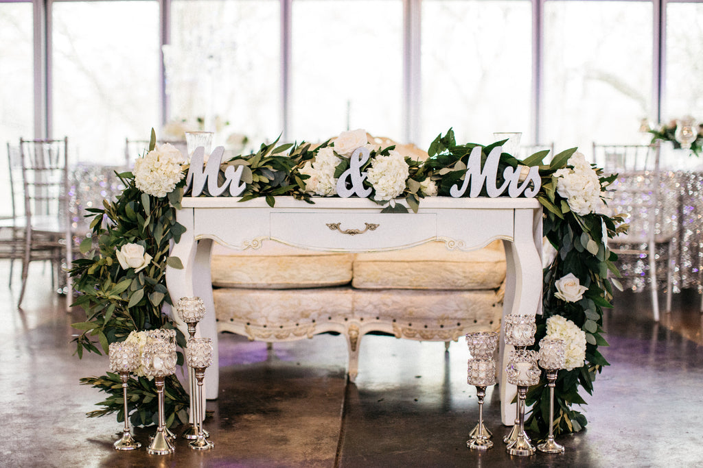 Mr. and Mrs., bridal table, wedding party