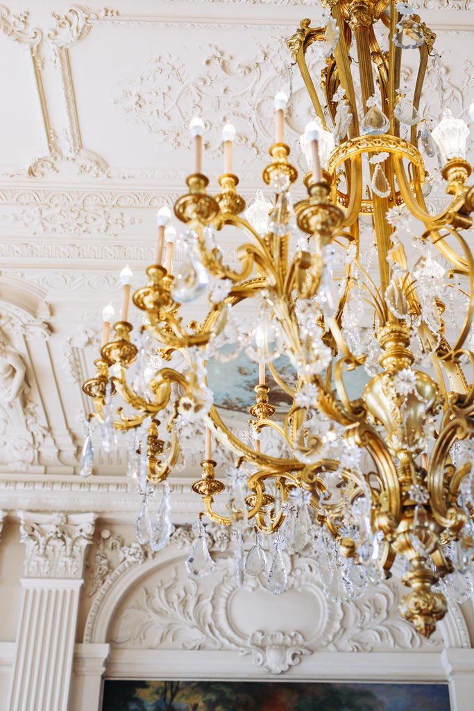 Opulent, gold, chandelier, trim, wealth, majestic, historic mansion