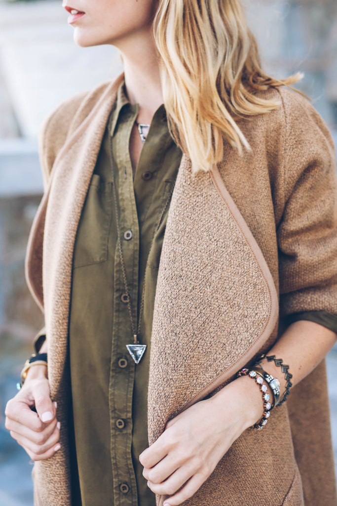 fall layers, camel sweater coat, loren hope tri pendant