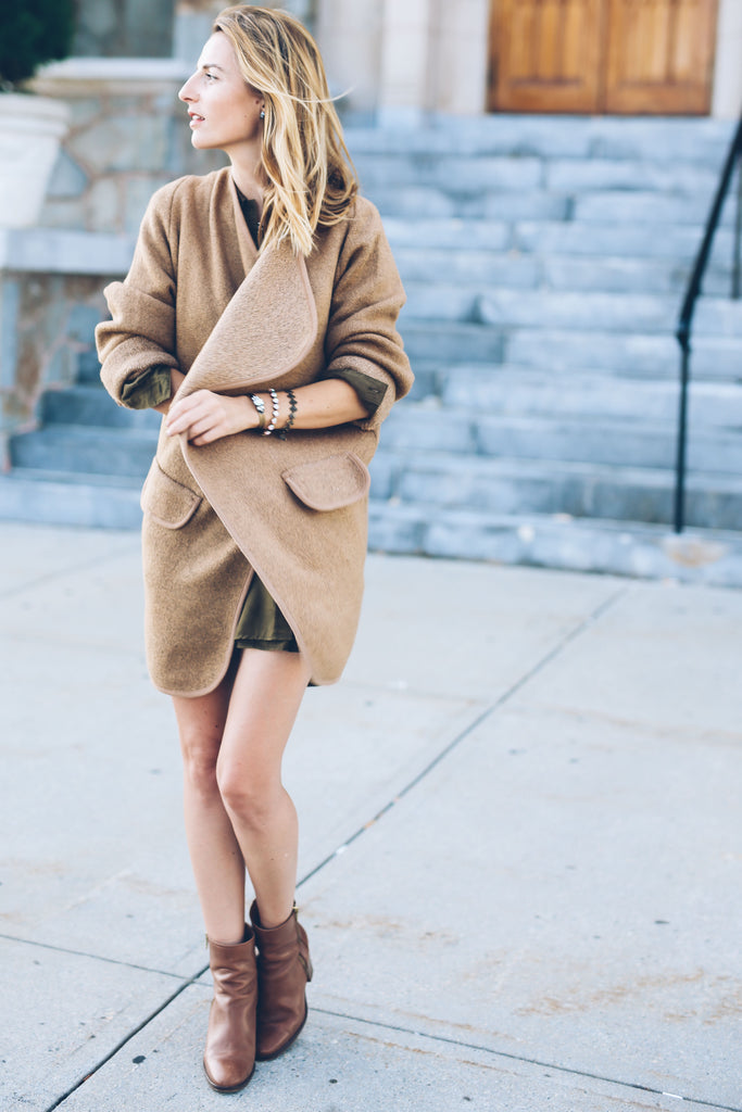 fall layering, brown ankle boots