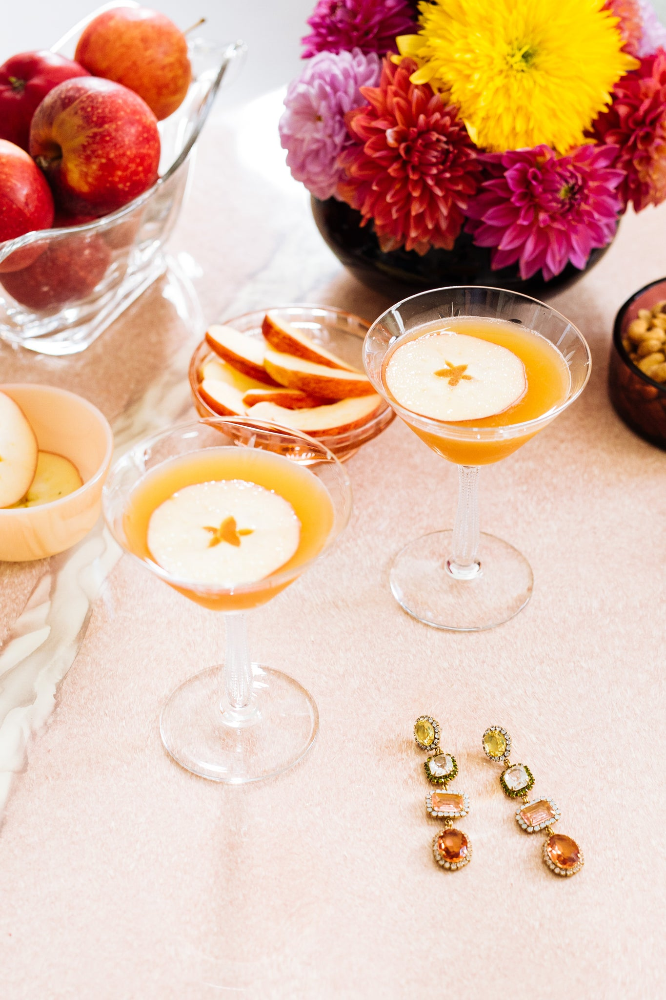 apple cider bourbon martini, apple cider cocktail, apple season new england - loren hope