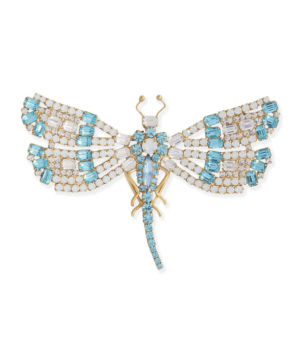 Large Dragonfly in Aqua / White Opal