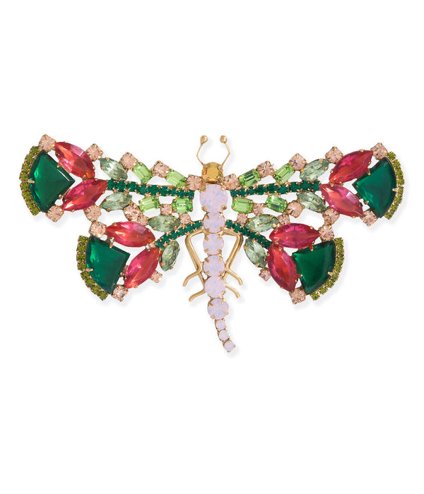 Extra Large Dragonfly in Emerald / Coral / Peridot