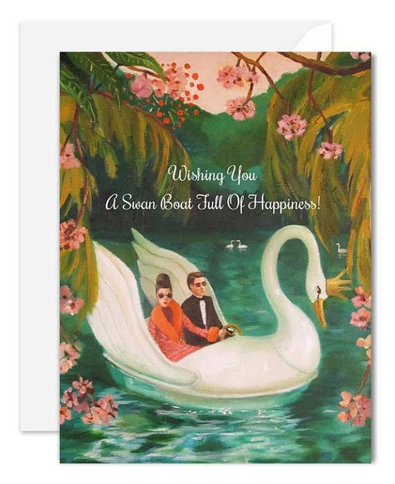 Janet Hill Studio - A Swan Boat Full Of Happiness Card