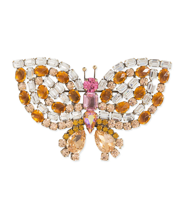 Large Butterfly in Topaz / Crystal / Rose