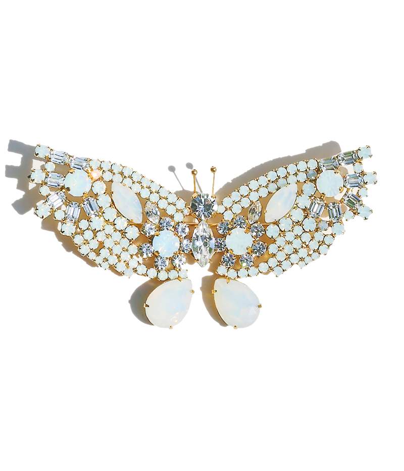 Extra Large Butterfly in White Opal / Crystal