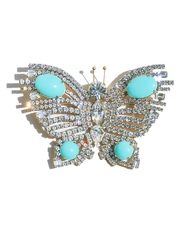 Extra Large Butterfly in Crystal / Turquoise