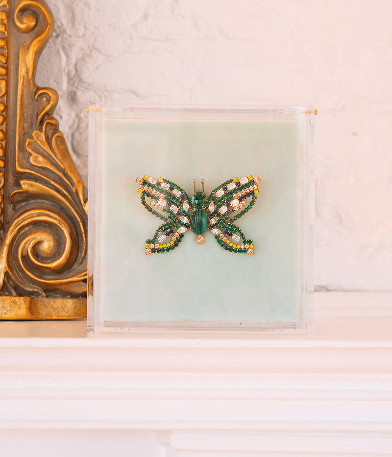 Large Butterfly in Emerald / Crystal / Yellow