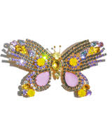 Extra Large Butterfly in Black Diamond / Violet / Yellow Opal