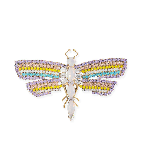 Medium Dragonfly in Violet / Yellow Opal / White