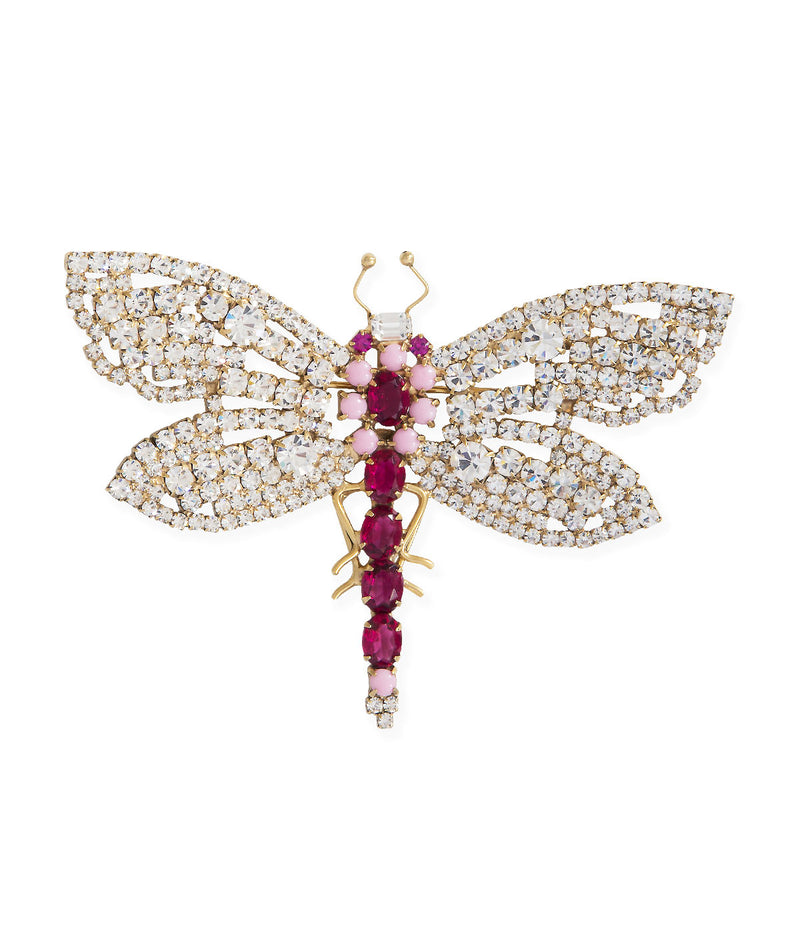 Large Dragonfly in Fuchsia / Matte Pink / Crystal