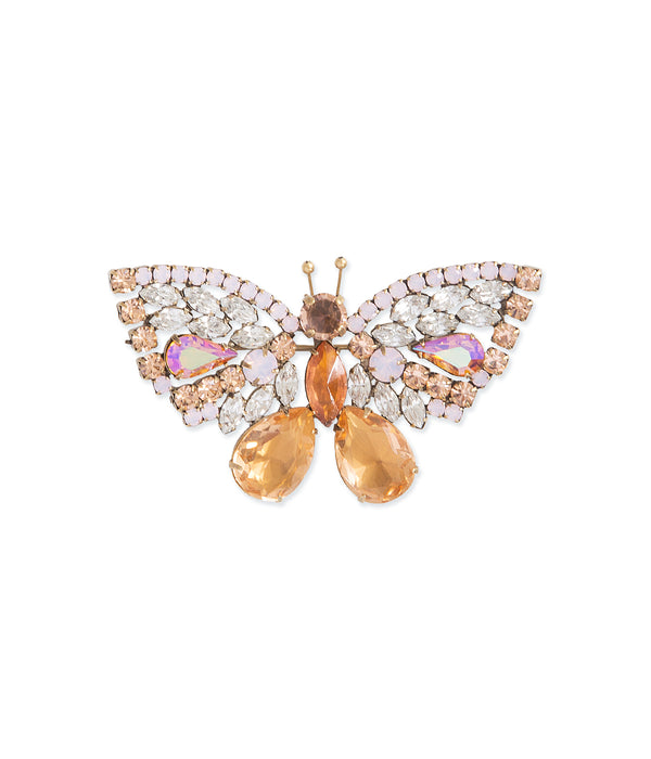 Medium Butterfly in Light Peach / Rose Opal / Crystal