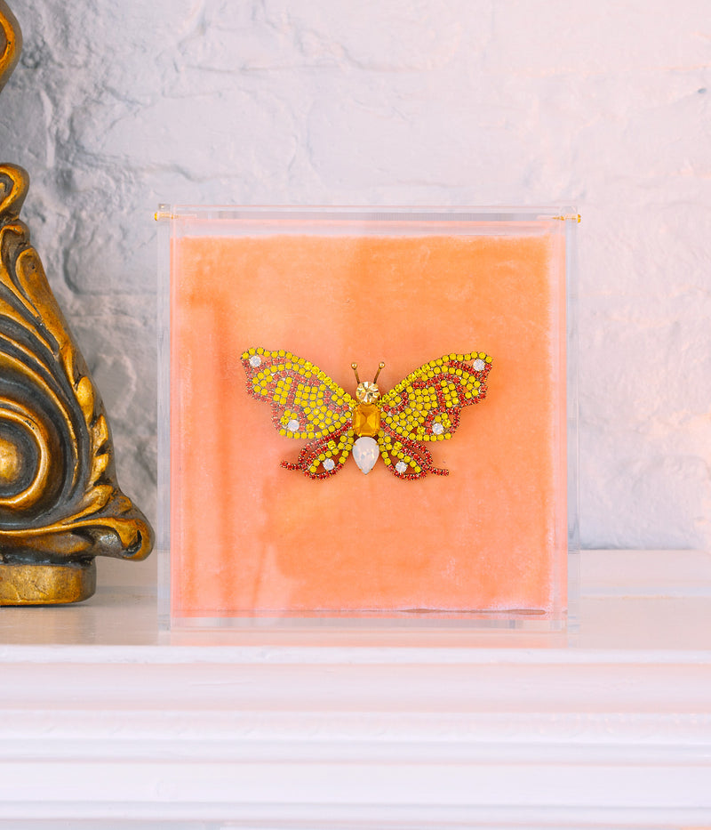 Large Butterfly in Yellow / Coral