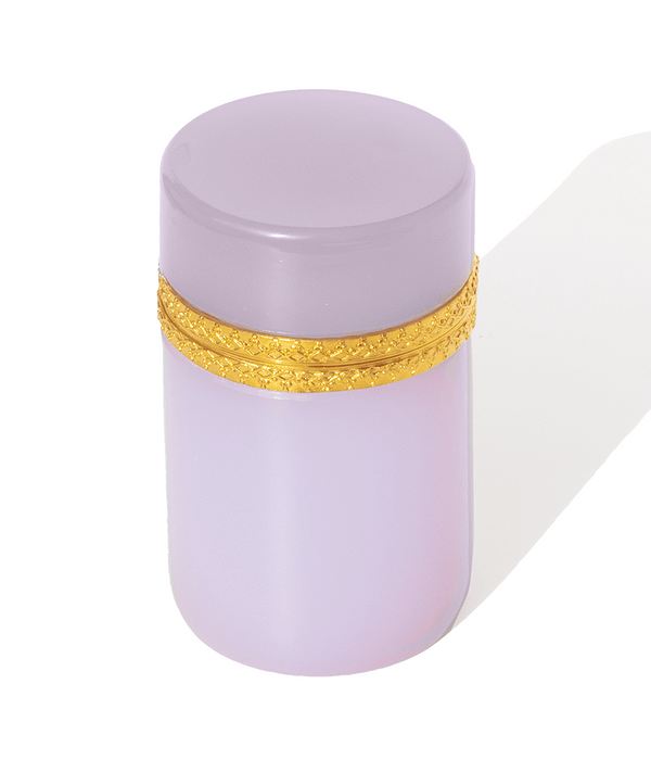 Tall Round Lavender Opaline Glass Box
