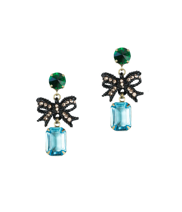 Bow Earrings, Bow Drop Earrings, Emerald drop earrings