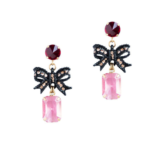 BETTY BOW DROP EARRINGS IN PINK