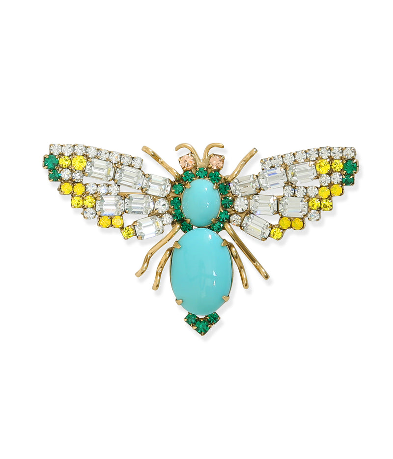 Medium Bee in Crystal / Turquoise / Yellow Opal