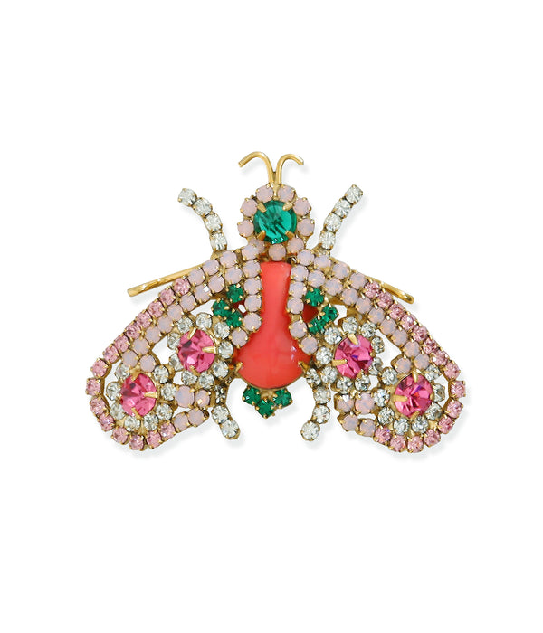 Medium Bee in Coral / Emerald / White Opal