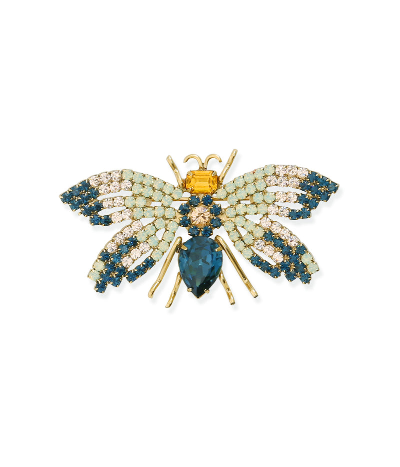 Small Bee in Midnight / Light Peach / White Opal