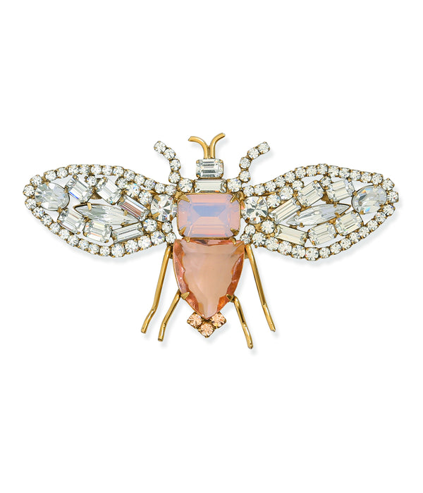 Large Bee in Crystal / Light Peach / Rose Opal
