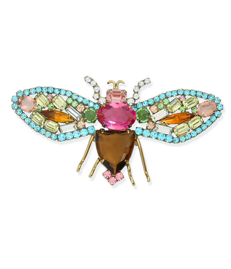 Large Bee in Aqua / Rose / Jonquil