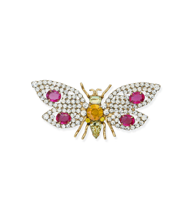Small Bee in Crystal / Dark Rose / Jonquil
