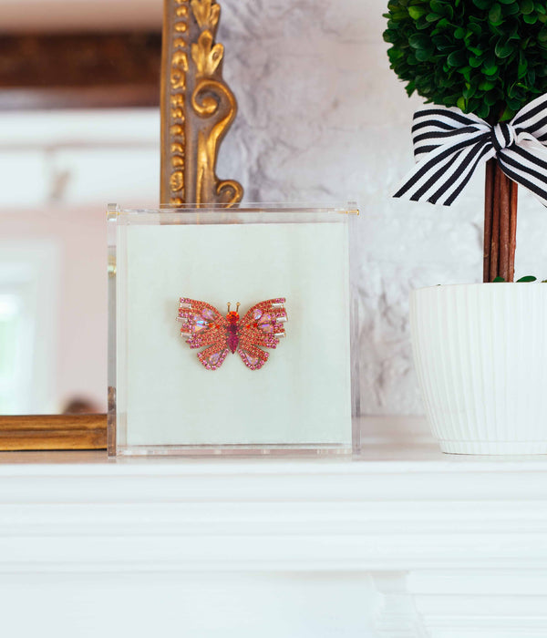 SMALL BUTTERFLY IN CORAL/FUCHSIA