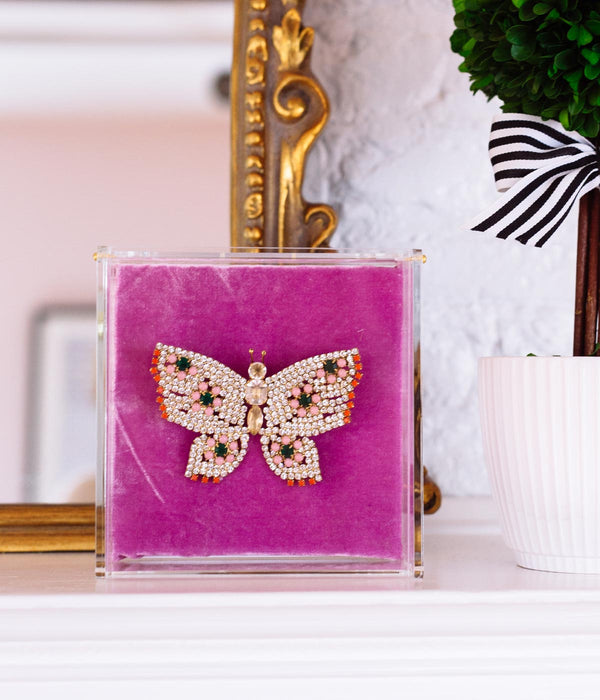 LARGE BUTTERFLY IN CRYSTAL / EMERALD / PINK