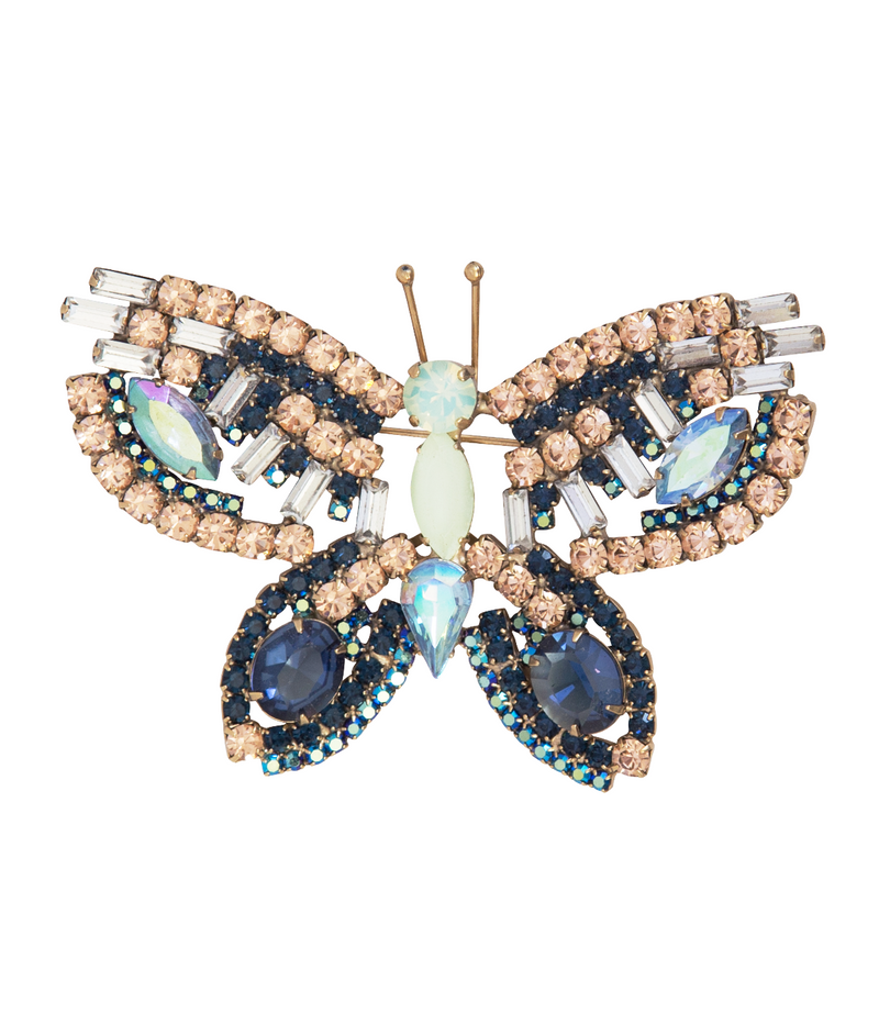 Large Butterfly in Midnight Blue / Mint / Peach