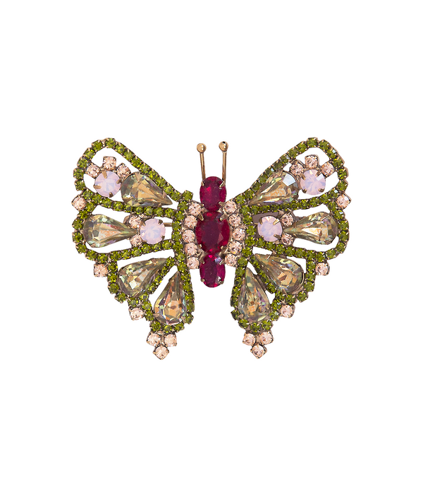 Medium Butterfly in Ruby / Olivine / Rose Opal