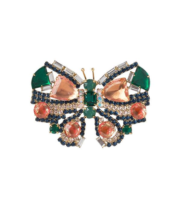 MEDIUM BUTTERFLY IN EMERALD/PEACH