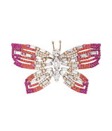 Large Butterfly in Crystal / Fuchsia  / Coral
