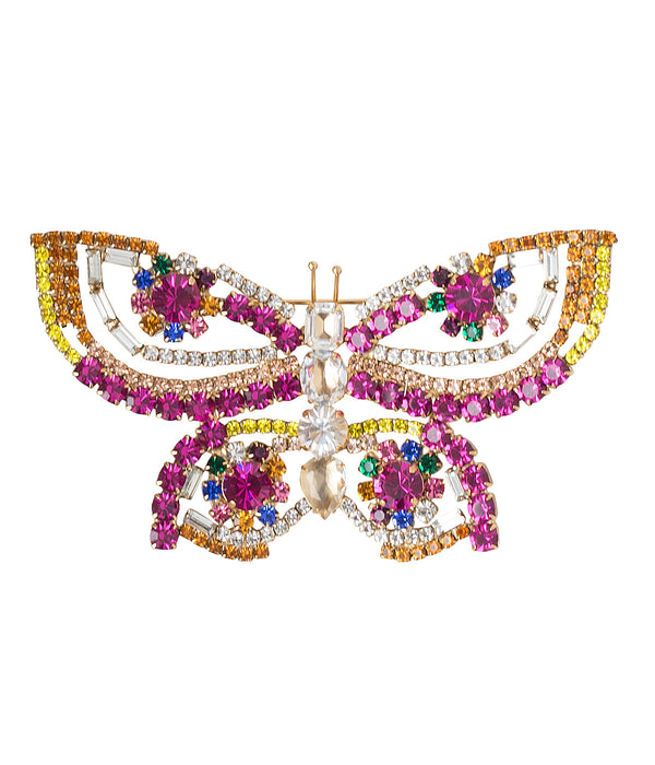 X-LARGE BUTTERFLY IN FUCHSIA/TOPAZ/CITRINE