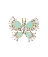 Small Butterfly in Opaline Green / Crystal