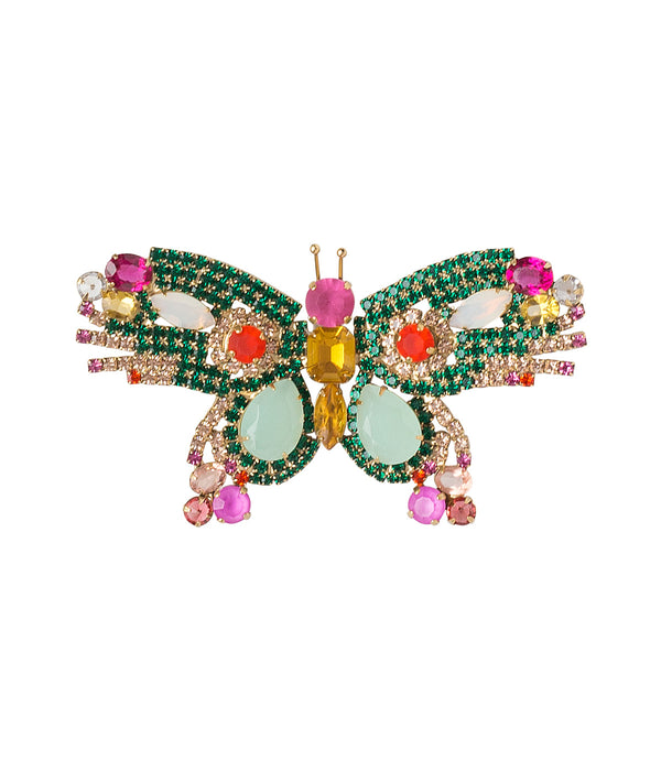 LARGE BUTTERFLY IN EMERALD/BLUE/FUCHSIA