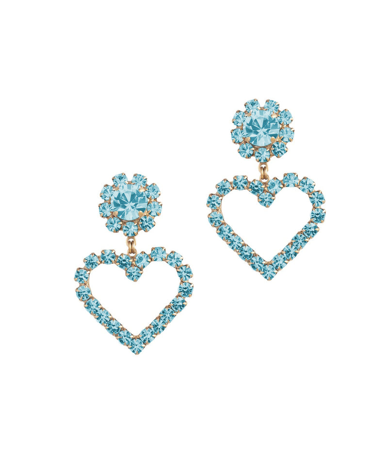 Cupid Heart Earrings in Aqua